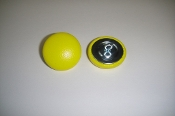 12 Pieces Stock Wire Eye Button - Bright Yellow Leather