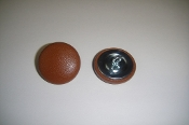 12 Pieces Stock Wire Eye Button - Dark Caramel Leather
